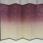 桜柄和紙の屏風